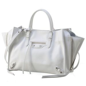 Balenciaga white calf leather mini tote